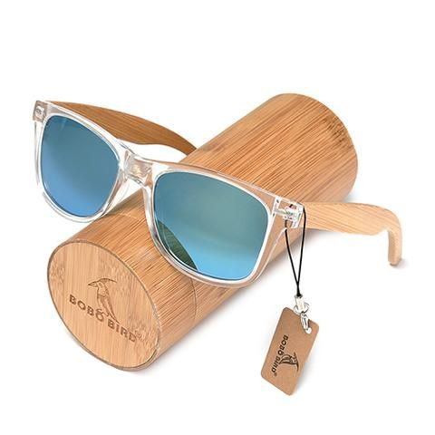 Handmade Polarized Sunglasses With Transparent Plastic Frame Colorful Lens And Bamboo Legs   Green Blue Yellow Handmade Mens Women Outlet Design Box Case Eyewear For Men Outfit Accessories Shades Awesome Websites Beautiful Unique inspiration Gift Ideas Products For Sale buy online shopping links Wood case Stores AuhaShop.com