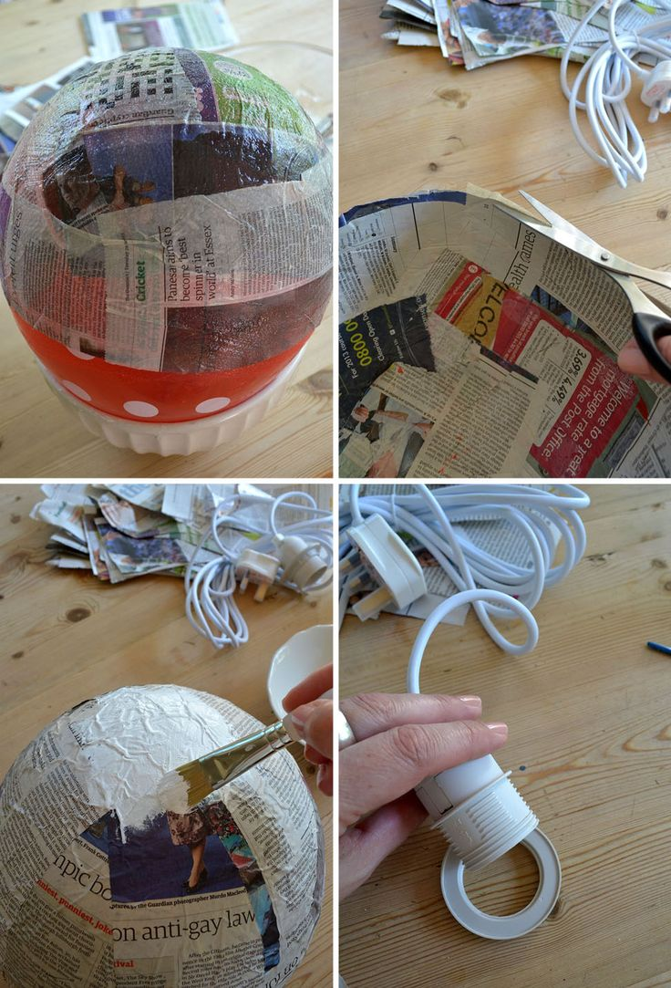 Paper mache japanese style diy lamp shade paper m ch for How to make paper mache lamps