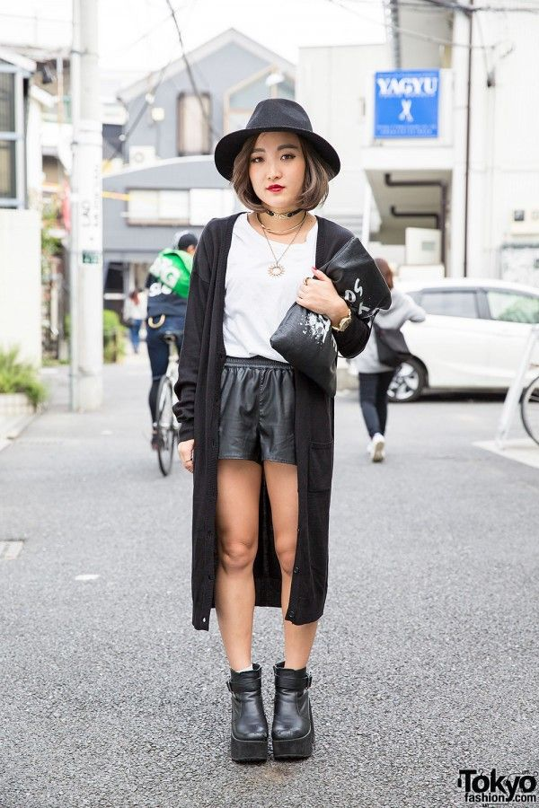 Black White Harajuku Street Style W Leather Shorts Hat Clutch Gyda Tokyo Fashion News