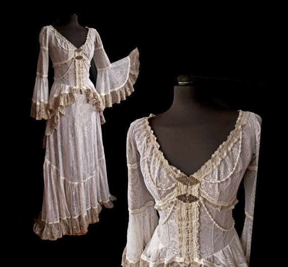 Victorian lace dress reserved cottage chic steampunk for Western lace wedding dresses