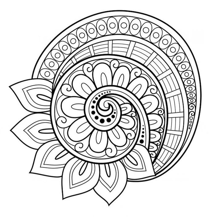 Flower mandala coloring page - free! More