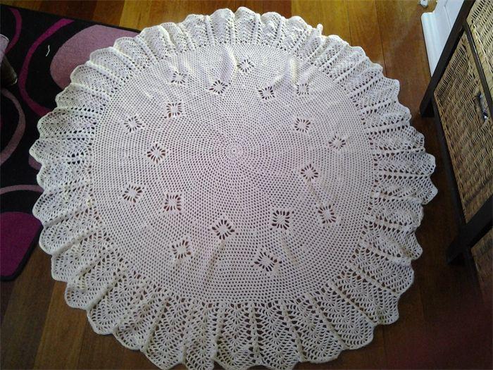 Crochet Baby Blanket Cream circular 130cm diameter