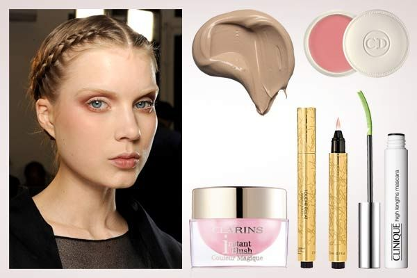 Add a touch of pink cream blush to your cheeks for the happy glow and a touch of lip balm to keep it sweet and simple.