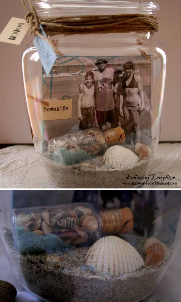 Collect keepsakes from family trips in jars.