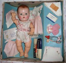 """Vintage Early 1950s Pre-Patent MINT in Box 13.5"""" Tiny Tears doll.."""