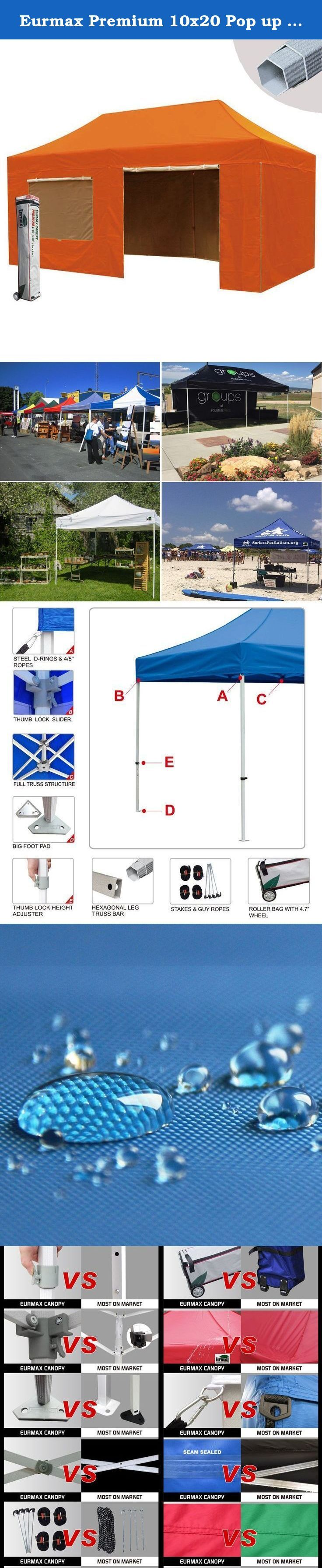 """Eurmax Premium 10x20 Pop up Canopy Tent Instant Shelter with 4 Zipper Sidewalls and Roller Bag (Orange). Eurmax PREMIUM easy pop up canopy is our mid commercial level Pop up canopy with 1.6"""" hexagonal aluminum leg. The 10x20 pop up canopy can be quickly erected by two people without any tools. the canopy is light in weight and high in quality. we have 3 sizes available and 19 colors for your choice. this portable canopy comes with a super wheeled bag with two 4.7"""" wheels which can handle..."""