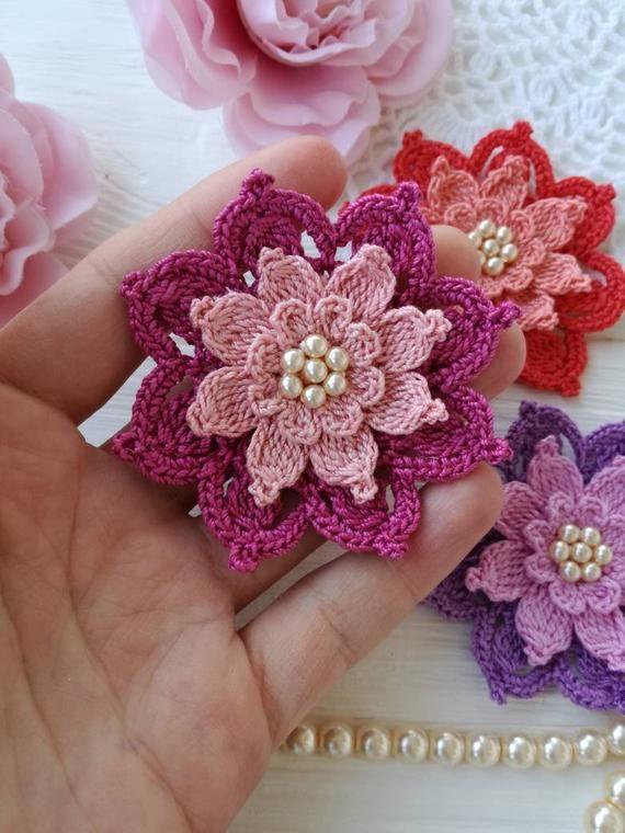 Crochet flower PATTERN | Etsy
