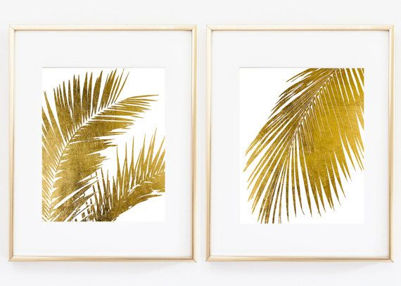 Set Of Two Real Gold Foil Palm Tree Leaf Palnt By