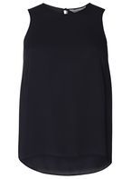Womens Petite Navy Sleeveless Tie Back Top- Blue