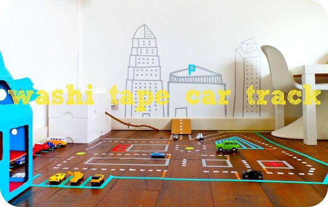 Washi tape car track ...awesome idea!