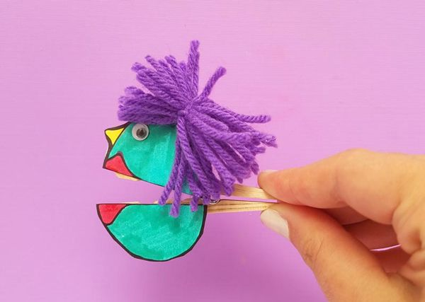 Clothespin paper puppets