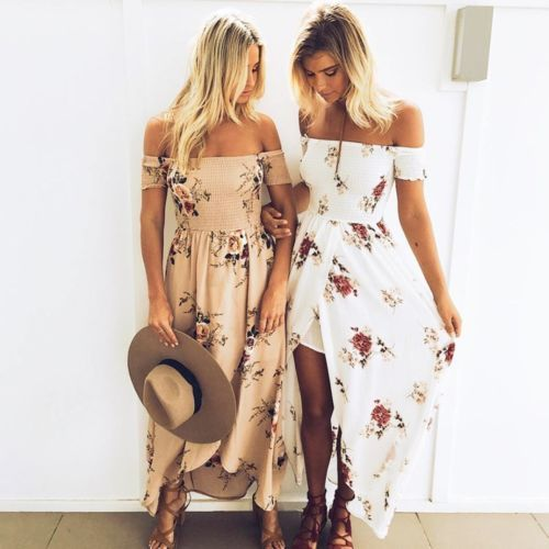 Mujer Verano Boho Vestido Largo Noche Cóctel playa vestido vestido de verano | eBay