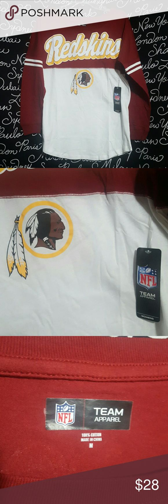 NWT Women's NFL Washington Redskins ?NWT? Long sleeve Washington Redskins Varsity spirit baby Jersey tee , cotton , crew neck machine washable inside out with authentic NFL team apparel tag attached.    Please ask any and all questions before purchasing this item. NFL gear Tops Tees - Long Sleeve