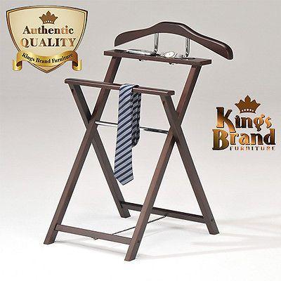Home-Hanger-Walnut-Standing-Valet-Clothes-Organizer-Bedroom-Men-Suit-Rack-Stand