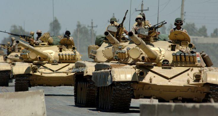 Iraqi Army T-72M main battle tanks. The T-72M tank was a common Iraqi battle tank used in the Gulf War.