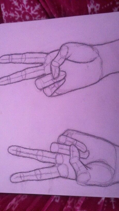 how to draw a peac sign hands