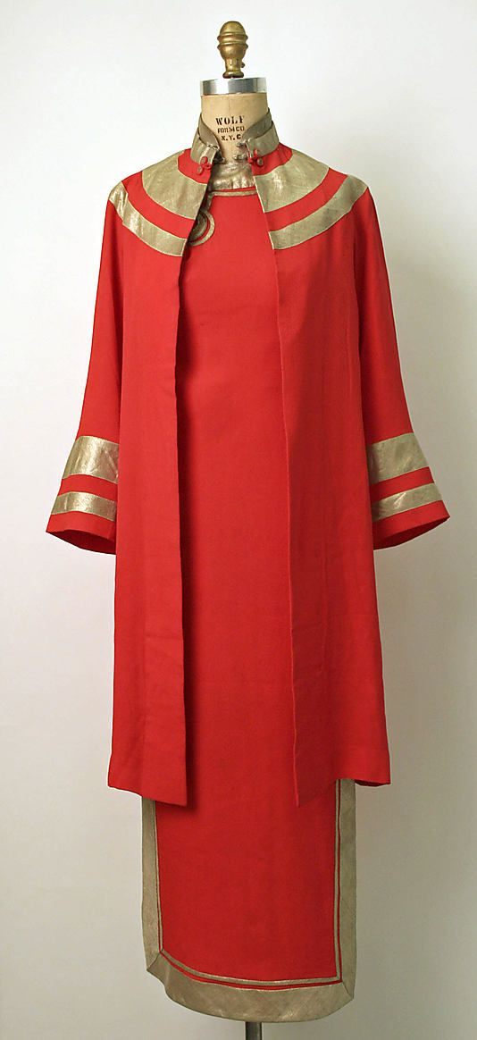 ~Ensemble Date: 1930s Culture: Chinese Medium: silk, metal~ fashions style couture vintage dress coat evening wear formal asian unique red gold 30s cheongsam