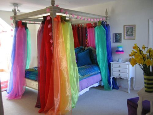 My girls would love these rainbow sheers for their rainbow for Bed love decoration