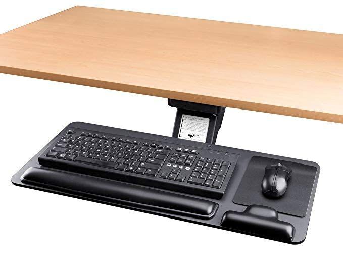 Adjustable Keyboard Tray Ergonomic Design Standard Under Desk Platform Large Space Track Cartmay Ergonomics Design Keyboard Ergonomics