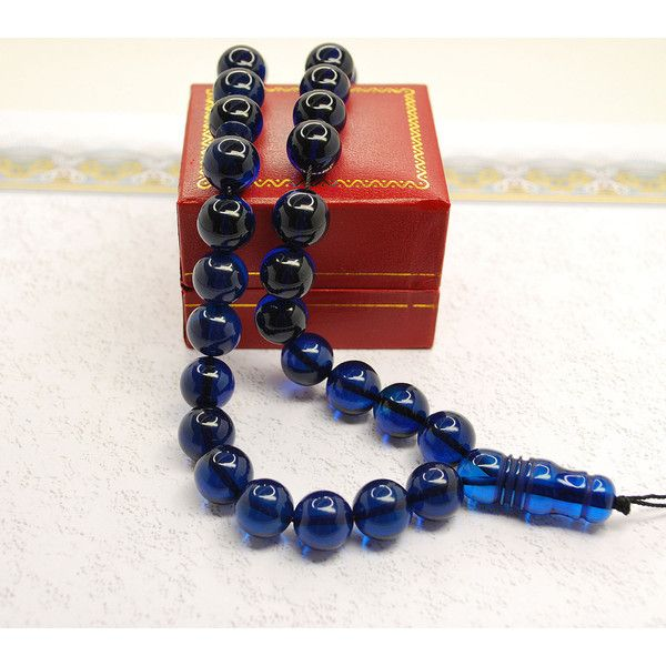 Islam Prayer Beads Misbaha Gebetskette KEHRİBAR TESBİH Blue Dominican... (310 BAM) ❤ liked on Polyvore featuring home, home decor, blue home accessories, blue home decor and handmade home decor