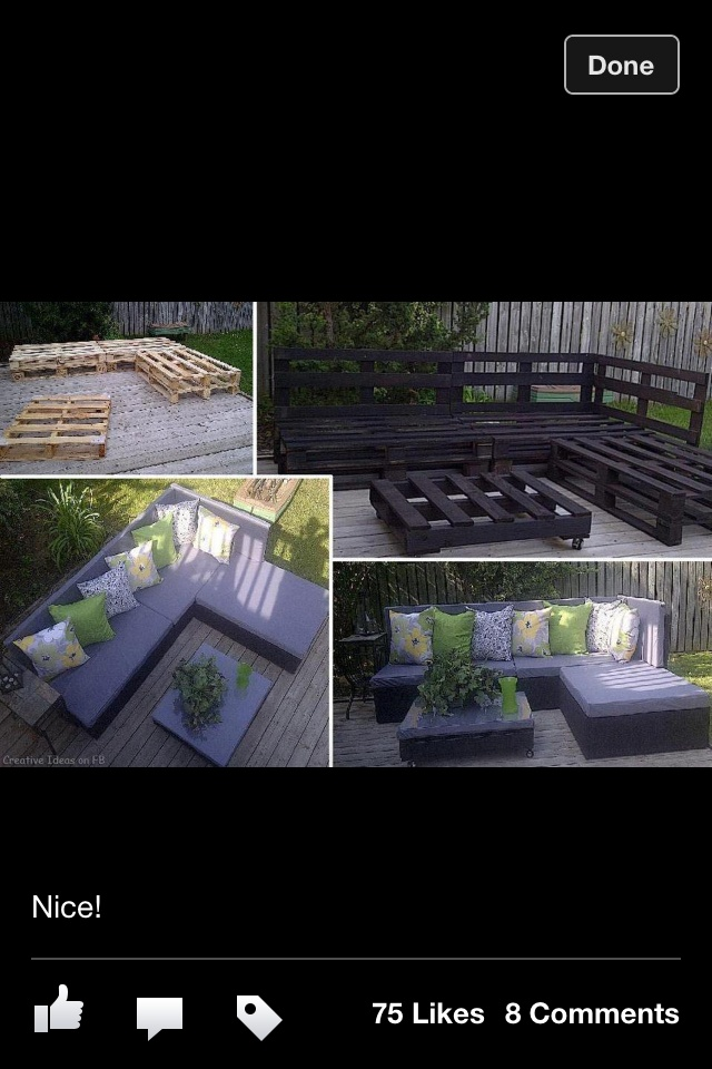 Deck seating with palets