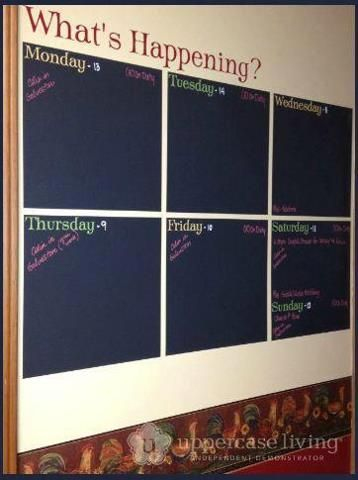 "Great Idea for organizing! Office, home, school, etc. This is (2) 3 packs of our Chalk Wall vinyl (item 80136) Each square is 12.5"" The wording is created custom in the MyDesign Suite so you create what you want. These squares are available in Dry Erase item 80137 http://chrisa.uppercaseliving.net"