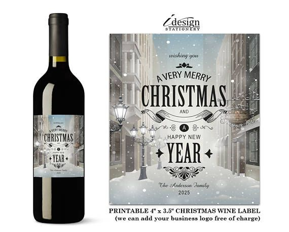 Christmas Wine Labels Typography Holiday Wine Bottle Label