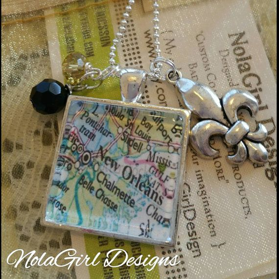 New Orleans Map Necklace  map jewelry map pendant NOLA #Nola #New #Orleans #necklace #jewelry #fun #map #gift