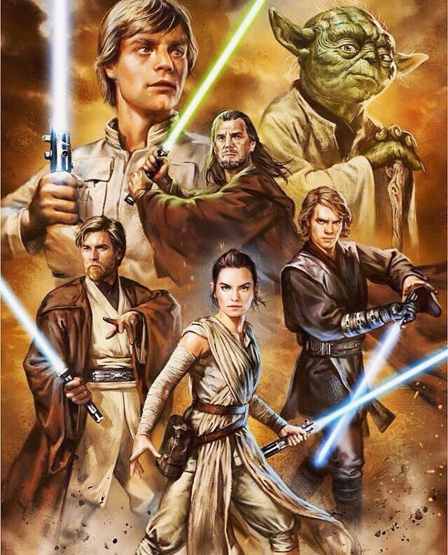 Three of the characters in this picture are holding the exact same lightsaber.
