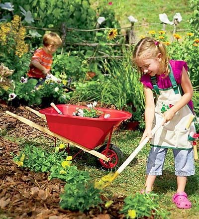 pictures of kids gardening | Rugged Red-Poly Child's Wheelbarrow