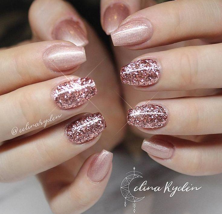 Rose Gold Sparkle Rose Gold Nails Design Gold Gel Nails Gold Nail Designs
