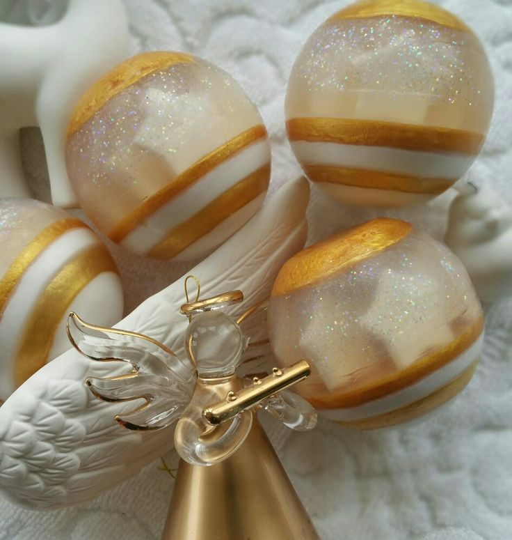 Pretty gold soapy Christmas baubles.