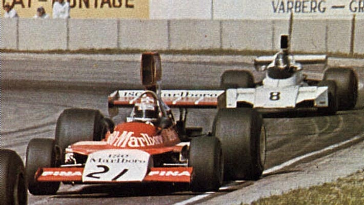 Tom Belsø, Frank Williams Racing Cars, Iso Marlboro-Ford FW and Rikky von Opel, Brabham-Ford BT44; GP Sweden 1974, Anderstop