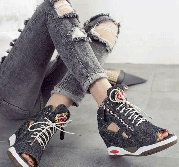 S-zhaoli Increased Platform Wedges Canvas Denim Octopus Mouth Open Toe High Heel Sandals Shoes Women Summer Fashion Sneakers  #z #nd #music #onlineshopping #red #valenitine #webdesign #brided #weddingrings #shipping