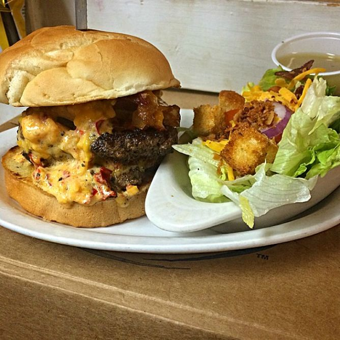 Tupelo Top Ten Bacon Pimento Cheese Burger | Courtesy of Blue Canoe