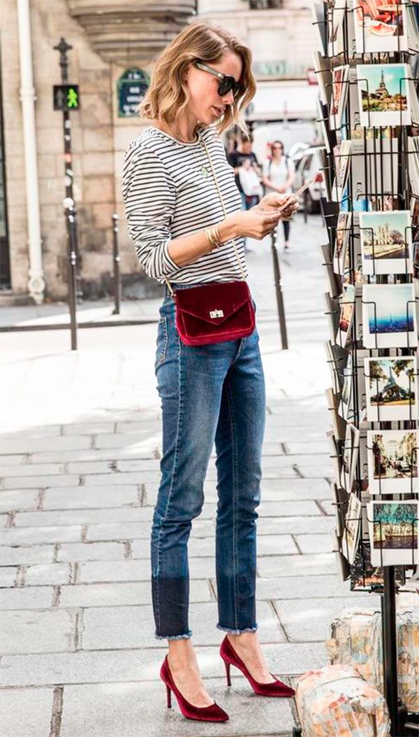 Love the tshirt snd jeans, hate the bag and pumps. Replace with normal red block heels and a handbag