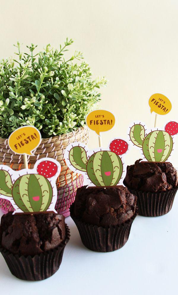 Plantillas de Cactus para Cupcakes de Fiesta  mexicana. #FiestaMexicana