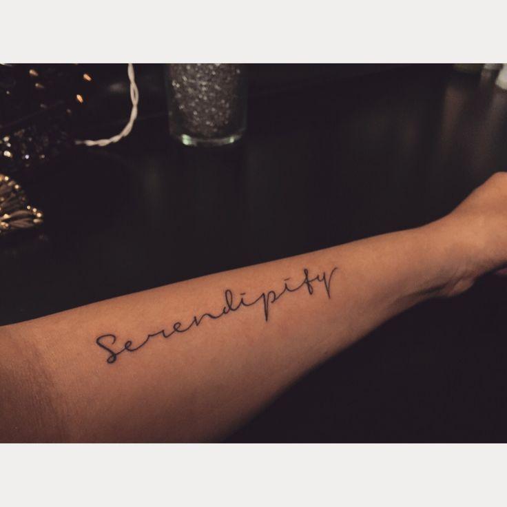 Serendipity Tattoo, Placement, arm tattoo, girly script tattoo. Girl Tattoo