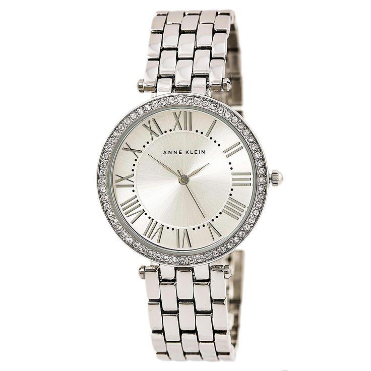 Anne Klein 2231SVSV Women's Swarovski Crystal Bezel Silver Dial Steel Bracelet Watch