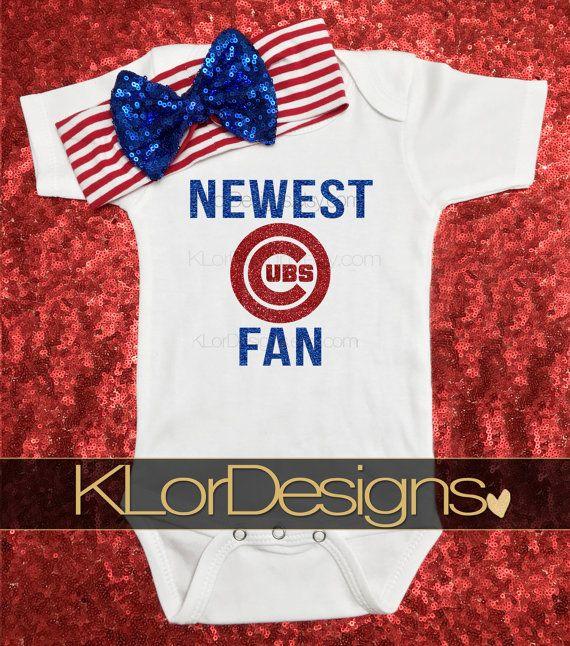 Cubs Onesie Chicago onesie baseball onesie baby by KLorDesigns