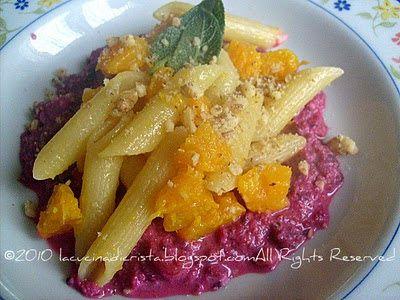 Pasta con zucca e barbabietola rossa - Pasta with pumpkin and beetroot - Paste cu dovleac si sfecla rosie