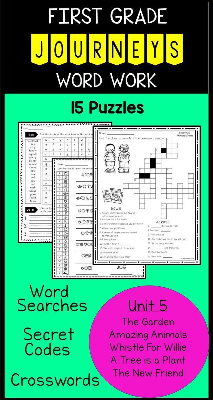 Unit 5 First Grade Journeys Word Work Puzzles   Journeys   Journeys