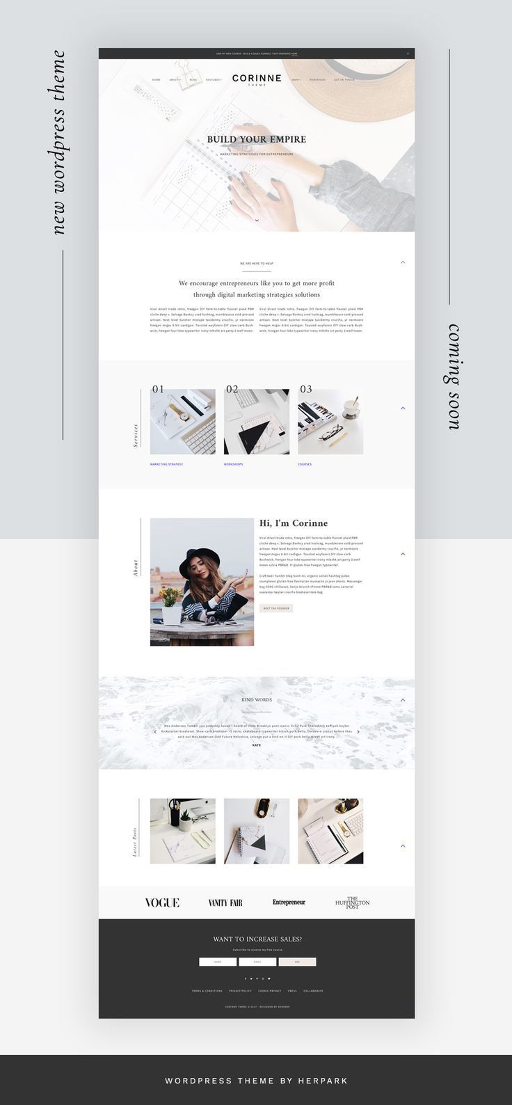 Portfolio Corinne Genesis Child Theme eCommerce Feminine Wordpress Theme for Female Entrepreneurs