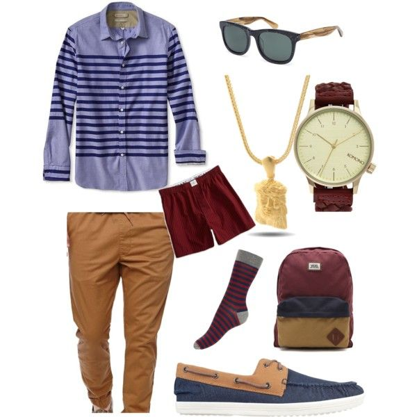 Spring/Fall Burgundy/Tan/Blue Set for Him, created by quincytolliver on