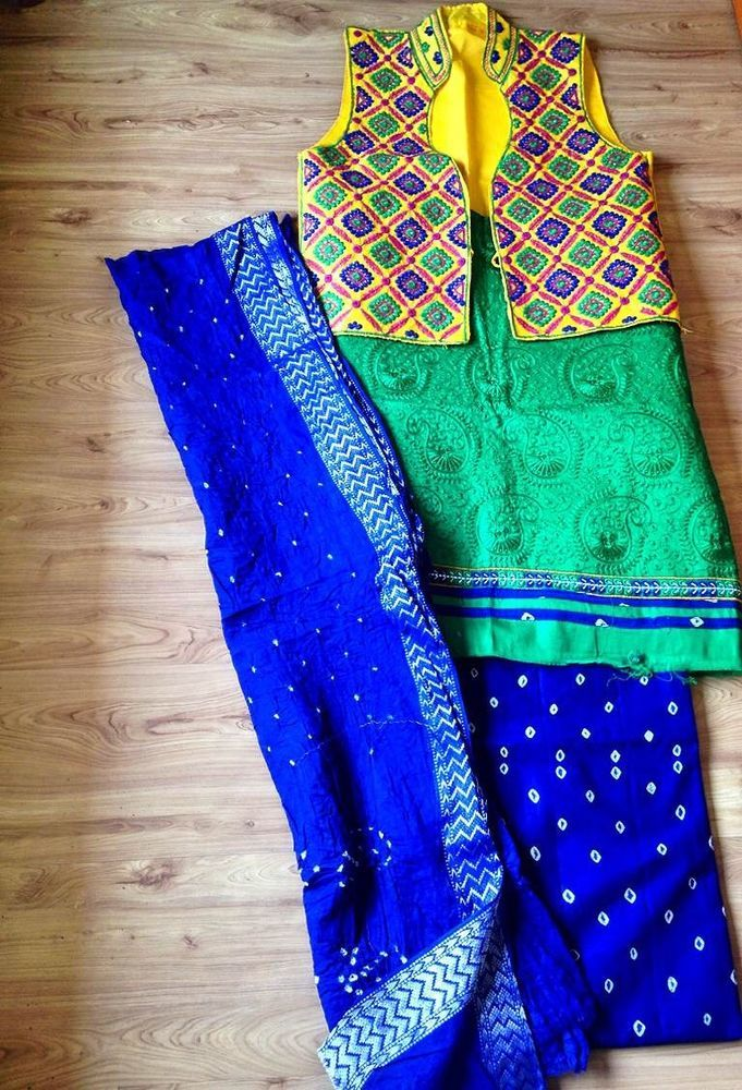 Kachh Embroidery Cotton Casual / Party Suit with Dupatta & Jacket from Urban Buy