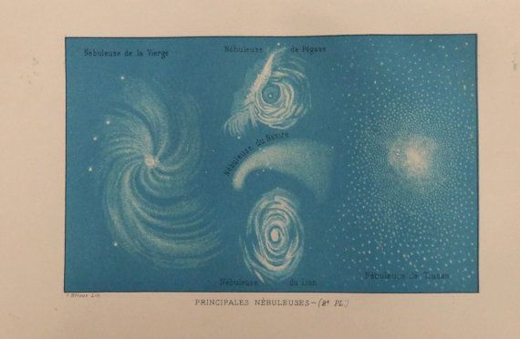 Antique Astronomical Chromolithograph.(By F.Meheux) Principal Nebulae. Published by Firmin-didot in 1874. Not a copy 141 years old. Good condition.Reverse blank.  Ready for framing. Dimension 6x9 inches,or 15x23 cm Other similar prints in our shop: https://www.etsy.com/your/shops/CastafioreOldPrints/sections/13518875 Shipment in rigid envelope. Shipping is only paid for the first item. Thank you for your visit