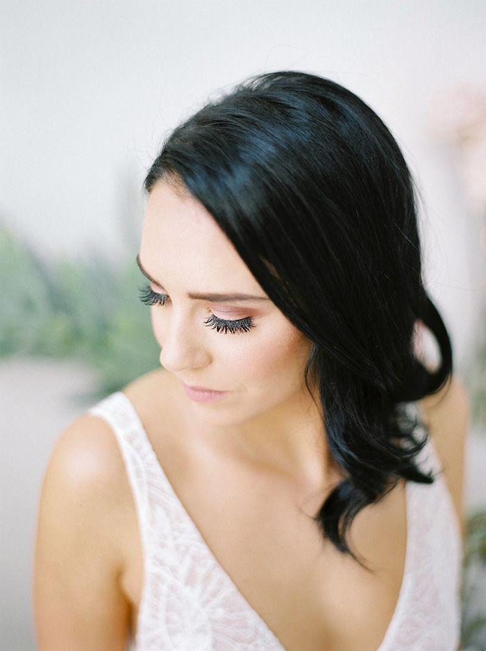 Dramatic Smokey Bridal Makeup with Loose Waves  https://heyweddinglady.com/bridal-romance-blissful-lavender-blush-pink/    #beauty#bride#wedding#weddings #weddingideas#makeup #bridalmakeup