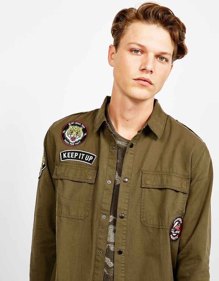 this stuff is sooo damn cool! am i wrong? #Bershka Military overshirt with patches 2.0