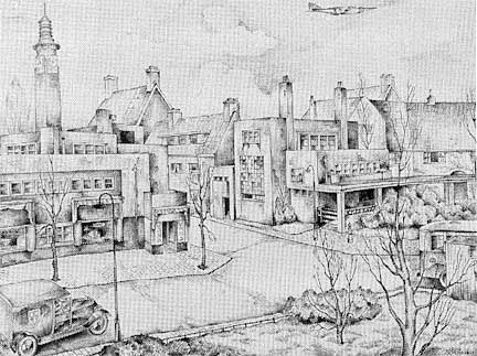 """""""Betondorp"""" a nice place to grow up in Amsterdam. I love this drawing."""