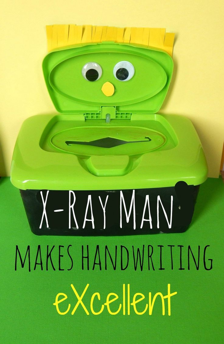 DIY craft that teaches kids handwriting, letters, shapes, colors, and numbers by using a baby wipes box as an X-Ray Man.